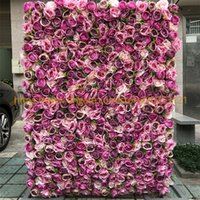Wholesale plants green flowers resale online - 3D Artificial Flower Wall Fake Flower Table Runner Wedding Background With Royal Roses And Green Grass GY618