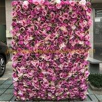kraliyet gülleri toptan satış-Kraliyet Roses Ve Yeşil Çim GY618 ile 3D Yapay Çiçek Duvar Sahte Çiçek Masa Runner Düğün Arkaplan