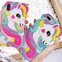 Wholesale 3d case animals resale online - New D Unicorn Cute Cartoon Animals Soft Rubber Silicone Shockproof Drop Protection Kawaii Bumper Case Cover For iPhone X XS Max XR