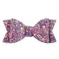 Wholesale hair accessories clothing resale online - Bow Barrettes new girl glitter sequin hair accessories kids princess headdress children s party clothing accessories baby hairpin BI18031
