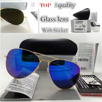 güneş gözlüğü ayna 62mm toptan satış-Üst Kalite Cam Lens Pilot Vintage Gözlük Erkekler Kadınlar Güneş gözlüğü UV400 Marka Tasarım 58mm 62mm Unisex Ayna Güneş Gözlükleri Daha İyi Kılıf Sticker