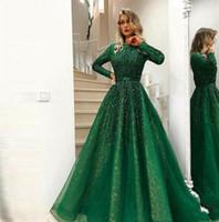 largo vestido maxi musulmán por la noche al por mayor-Vestido de una línea de noche con cuentas verdes Mangas largas Vestido de fiesta de invierno Desgaste Maxi vestidos de encaje Vestidos formales musulmanes de alta calidad