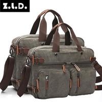 Wholesale vintage canvas briefcase resale online - Z l d New Large Size Multifunctional Casual Canvas Business Briefcase Men s Tote Messenger Male Handbags Travel Bag MX190817