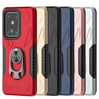 metal cep telefonu kutuları toptan satış-Darbeye Amiral Yüzük Telefon Kılıfı için Samsung S11 S11E S11 Artı iPhone 11 Pro Max 11 Pro 11 TPU + Metal Mobil Kapak D