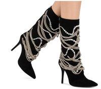 ingrosso scarpe in tallone nero in tallone-Stivali da sposa autunno inverno Stivali da moto neri alti alla caviglia Scarpe da donna Stivali con tacco a catena Tacchi alti Perle con perline Mostra scarpe