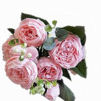 ramos amarillos al por mayor-al por mayor de peonía 5 cabezas directa flor artificial rosa roja flor amarilla decoración de la boda ramo