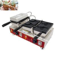 máquina taiyaki al por mayor-Envío gratis uso comercial antiadherente 110 v 220 v eléctrico 4 unids boca abierta japonés pescado helado Taiyaki fabricante panadero máquina de hierro