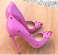 ingrosso grandi tacchi alti-2019 pattini caldi delle donne Red Bottoms Tacchi alti sexy stiletto tacco a punta rossa Sole 8 centimetri 10 centimetri 12 centimetri pompe con scatola di polvere scarpe borse da sposa grandi