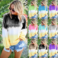 hoodies camisetas venda por atacado-Mulheres Rainbow Gradiente Moletom Com Capuz Outono mangas compridas pullover listrado Casual weatshirts Tops Roupas T-shirt camisas T tamanho de pelúcia LJJA2907