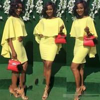 vestido de cóctel corto de gasa amarilla al por mayor-Sexy vaina de color amarillo corto Cocktail Party Dresse con gasa hasta la rodilla personalizado de manga corta vestidos de Fiesta Barato