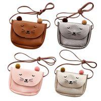 ingrosso borse quadrate carine-Kawaii Shoulder Bag Mini Cat Ear Messenger Borse Semplice Piccola Piazza Bag Bambini Tutto-Fiammifero chiave Coin Purse Cute Princess Borse