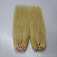 remy europäisches menschliches haar weben großhandel-Europäische blonde # 613 100% unverarbeitete Remy Blonde Günstige Echthaar weben weiß Blonde Gerade 4 Bündel reines Haar nähen in Haarverlängerungen
