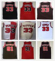 cor uniforme vermelho venda por atacado-Homens costurados Scottie 33 Jersey Pippen Preto Branco Vermelho Bege Equipe Cor Dennis 91 Rodman Jerseys College Basquete Camisas Uniforme