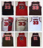 330304c5e856 Stitched Men Scottie 33 Pippen Jersey Black White Red Beige Team Color  Dennis 91 Rodman Jerseys College Basketball Shirts Uniform