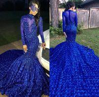 ingrosso gonna blu-2019 Black Girls Mermaid Abiti da ballo lunghi Royal Blue Maniche lunghe 3d Gonna floreale Applique di perline con perline partito formale abiti da sera BC0749