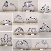 diy ring tasarımları toptan satış-Yeni Tasarım 925 Şerit Yüzükler Ayarları DIY Inci Yüzük Kadınlar için DIY Yüzükler Ayarlanabilir Boyutu Takı Ayarları Noel Bildirimi Moda takı