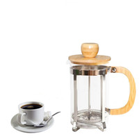 té francés al por mayor-Cafetera de acero inoxidable con tapa de bambú y mango Prensa francesa Teteras de vidrio portátiles Filtro de té caliente GGA2630