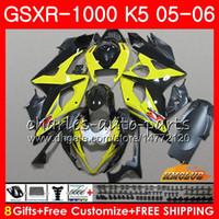 carimbo k5 amarelo venda por atacado-Kit + Capota Para SUZUKI GSXR 1000 GSX-R1000 GSXR1000 2005 2006 Corpo 11HC.81 GSXR-1000 05 06 K5 Lataria para carroçaria amarela GSX R1000 05 06 Carenagens