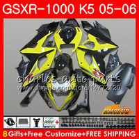 carenado k5 amarillo al por mayor-Kit + Capucha para SUZUKI GSXR 1000 GSX-R1000 GSXR1000 2005 2006 Cuerpo 11HC.81 GSXR-1000 05 06 K5 Carrocería amarillo claro GSX R1000 05 06 Carenados