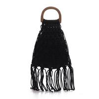 strohquasten strandtasche großhandel-Handgemachte Baumwolle gewebt Holzgriff Damen Handtaschen und Geldbörsen Hohlseil Quaste Strand weibliche Net Stroh Tote Abend Clutch Bag