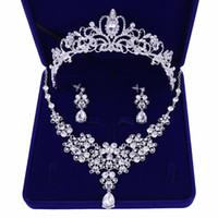 collier de perles de verre coeur bleu achat en gros de-Parures de bijoux de mariage Qualidade de Cristal Nupcial Do Casamento de Joias Mulheres Noiva Coroas Tiara Colar Brinco Joia Do Casamento