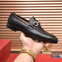 Wholesale men formal shoes resale online - High quality Formal Dress Shoes For Gentle Luxury designer Men Black Genuine Leather Shoes Pointed Toe Mens Business Oxfords Casual shoes