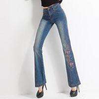 ingrosso jeans elastici flare-FERZIGE Pantaloni ricamati di marca 2019 Dolce elastico Skinny Flare Pants Donna Streetwear Jeans a vita alta Donna Blu Plus Size 36