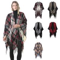 wolle winter capes frauen groihandel-Frauen Wolle Schal Strickjacke 130 * 150 cm Patchwork Plaid Poncho Cape Quaste Winter Warme Decke Mantel Wrap Schal outwear Mantel LJJA2983