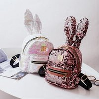 Wholesale travel backpack online - Women Sequins Backpack Cute Rabbit Ears Double Shoulder Bag Backpacks Children Girls Sequined Travel shoulder bags MMA1343