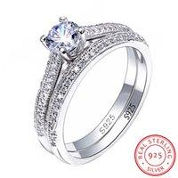 conjunto de anillos de boda de circón al por mayor-Joyería fina 100% original 925 anillos de plata conjunto de la Mujer circón cúbico Anillos de compromiso de la boda Gift Set R131