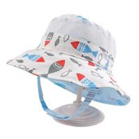 säugling sommer eimer hüte großhandel-Reversible Mesh Baby Bucket Sonnenhut Infant Jungen Mädchen Sommer UV-Schutzkappe mit breiter Krempe Fashion Cotton Bonnet Chinstrap