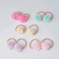 Wholesale cute ties for girls resale online - 2 pieces Cute Little Girls Pompom Hair Ties Ball Elastic Hair Band for kids Hair Ropes Accessories AS0179