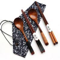 japanisches geschirr großhandel-Japanischen Stil Holz Besteck Set Umwelt Tragbare Besteck Löffel Essstäbchen Geschirr Chinesisches Essen Japanische Sushi Essstäbchen