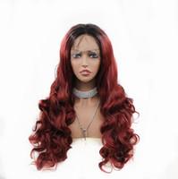 ingrosso due parrucche lunghe a colori-Moda Two Tones Vino colore rosso con radici scure Lunghe Onda sintetica Parrucca anteriore in pizzo Resistente al calore Fibra Ombre Parrucche per le donne