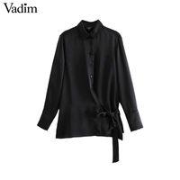 blusas de raso negro manga larga al por mayor-Vadim mujeres satén blusa negra pajarita de manga larga camisa de cuello abajo moda mujer casual chic sólido tops blusas LA624