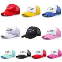 Wholesale keep hats online - Fashiion Cotton Trump Baseball Cap Keep America Great Hat Casual Donald Trump Mesh Cap Summer Beach Ball Sun Hat TTA736
