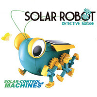 insetos robôs venda por atacado-Energia solar Engraçado Inseto Gafanhoto Solar DIY Monta Kits Modelo de Educação brinquedo Solar Grilos Presente Para Crianças DIY física Robô experimento