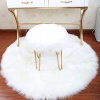 Wholesale european style decor resale online - Soft Round carpet Artificial Sheepskin Rug Chair Cover Bedroom Mat Artificial Wool Warm Hairy Carpet Seat Textil Fur Area Rugs wedding decor