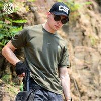 kore markalı toptan satış-Yeni Moda Yaz askeri eğlenceli Marka Tişörtleri Japonya Kore ABD cesur Erkekler ordu yeşil mavi Yüksek kalite örgü pamuk polyester elastik Genç Tees