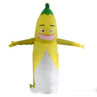 Wholesale stag costumes online - Adult Funny Inflatable fruit Banana Fancy Dress Costume Outfit yellow banana Mascot Costume Halloween Purim Stag m m
