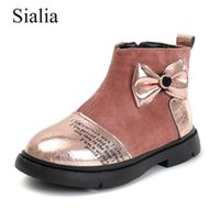 kelebek ayakkabı erkekler toptan satış-Sialia Kış Kız Botlar Çocuk Ayakkabı Çocuk Boots Peluş Sıcak Zip Kelebek Knot Parti Dans Moda bota infantil MENINA için
