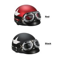 Wholesale red scooter helmet for sale - Group buy Hot Half Helmet Open Face For Bike Casque with Goggles Visor For Scooter Cycling Touring vintage Motorcycle Helmet Black Red