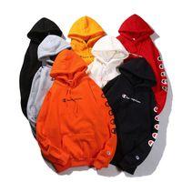 kaşmir uzun kol toptan satış-Dize etiket Champ mektuplar baskılı hoodies Sonbahar Kış Erkek Kadın Lüks uzun kollu Tişörtü Pamuk Kapüşonlu kazak Kaşmir palto ile