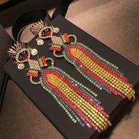 pendientes de niña bonita al por mayor-Europa y América Nuevas Pendientes de Mujer Pendientes Chapados en Oro Colorido Cristal Pendientes de Niña Bonita para Niñas Mujeres para Fiesta de Boda Bonito regalo
