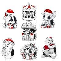 kolyeler için gevşek mavi boncuklar toptan satış-925 Gümüş Boncuk Noel toplama Charms Orijinal Pandora Bilezikler Kolyeler Kadınlar DIY Takı mavi 2019 kış kırmızı sığacak gevşek