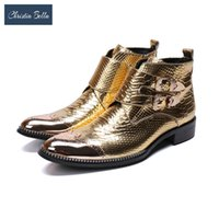 italya elbise ayakkabıları toptan satış-Toptan Marka Yeni Erkek Ayakkabı Çizme İtalya El Yapımı Hakiki Deri Çizmeler Erkekler Tokaları Altın Parti Balo Düğün Elbise Çizmeler