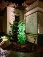 plancher de bambou noir achat en gros de-Sculpture en verre soufflé à la main sur commande d'intérieur Art Décoration Verre vert Art Lampadaire luxe Fleur Arbres Sculpture