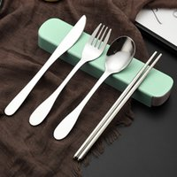 metall küchenutensilien groihandel-Edelstahl Besteck tragbare Picknick Besteck Set für Outdoor-Reisen Geschirr Set Metall Stroh mit Box und Tasche Küchengerät