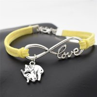 Wholesale vintage brass lobster resale online - Silver Vintage Infinity Love Mom and Child Elephant Pendant Fit Charm Bracelets Handmade Yellow Leather Suede Rope DIY Jewelry For Women Men