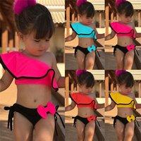 mayo mayoları toptan satış-Shujin Bebek Kız Mayo Bownot Katı Ruffled Yüzme Suit Kostüm Plaj Yüzme Yüzme Çocuklar Için Iki parçalı Takım SS-11 giymek